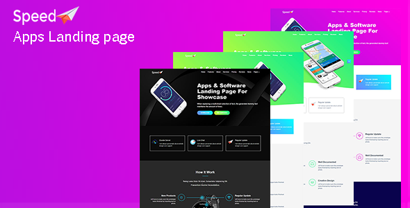 Speed | App Landing Page - Technology Site Templates