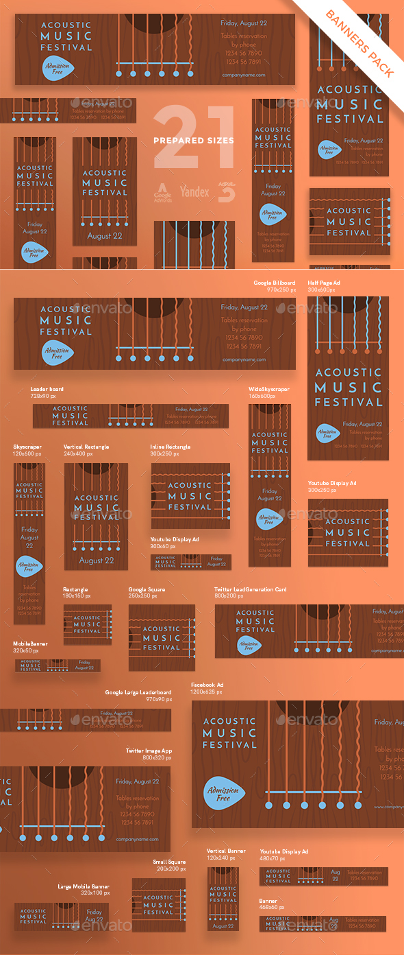 Music Festival Banner Pack - Banners & Ads Web Elements