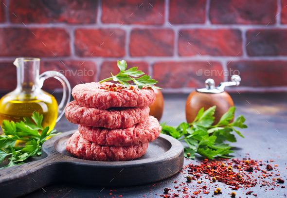 raw cutlets for burger - Stock Photo - Images