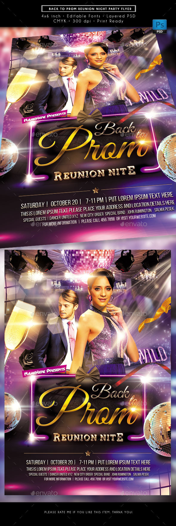 Back to Prom Reunion Party Flyer - Clubs & Parties Events