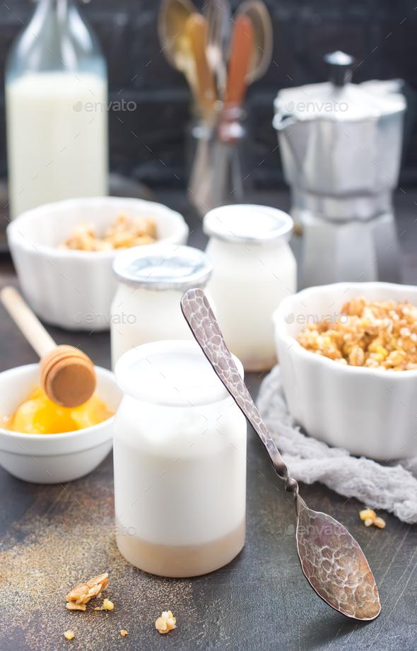 yogurt with granola - Stock Photo - Images