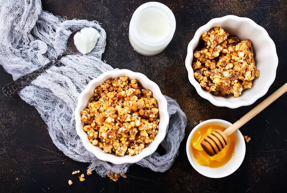yogurt with granola - Stock Photo - Images