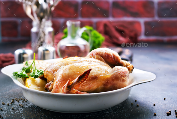 baked chicken - Stock Photo - Images