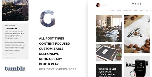 Grid - Responsive Portfolio - Tumblr Theme - Portfolio Tumblr