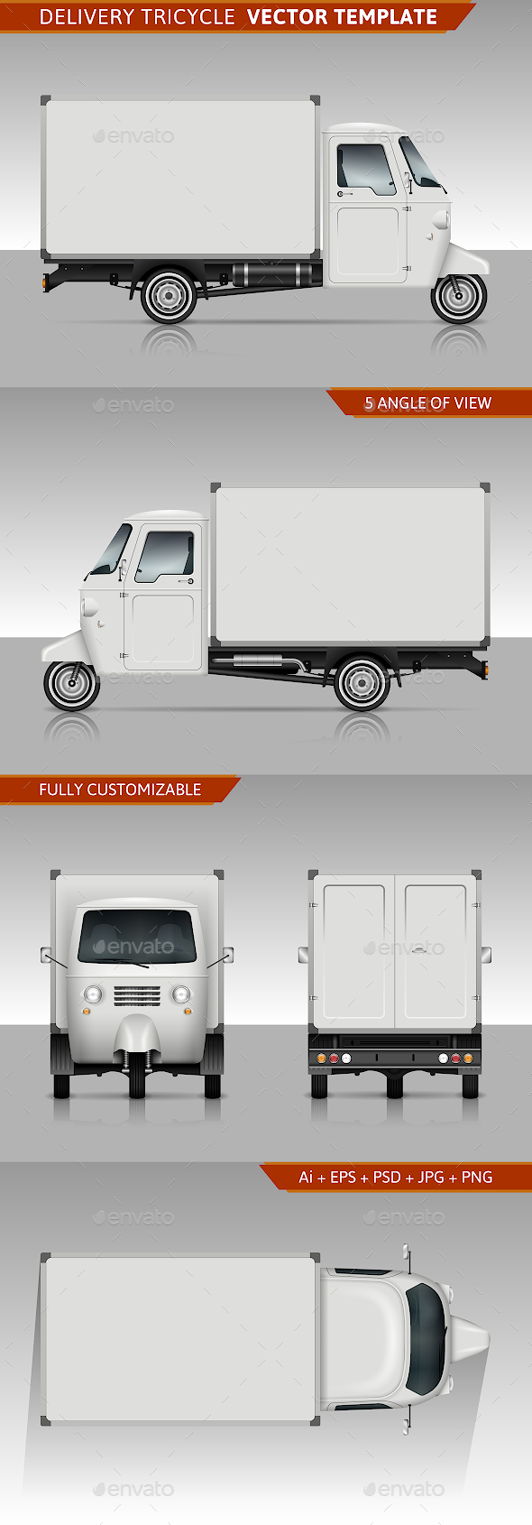 Delivery Tricycle Vector Template - Man-made Objects Objects