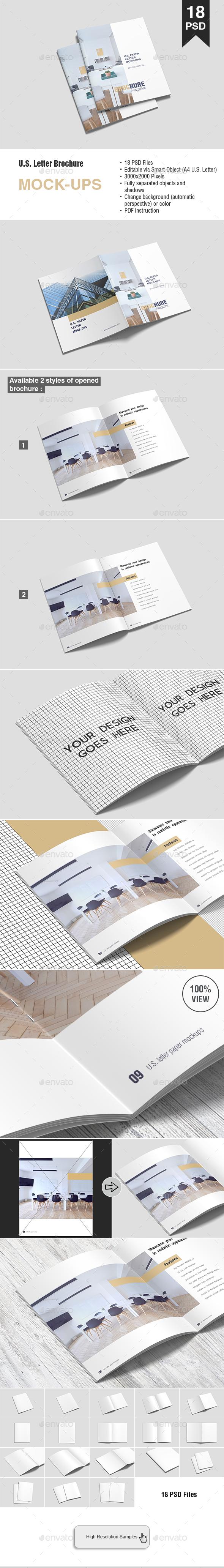 US Letter Brochure Mockup - Brochures Print