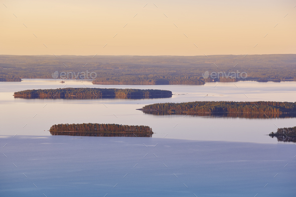 Finnish landscape at sunset. Lake Pielinien. Koli viewpoint. Finland scenic - Stock Photo - Images