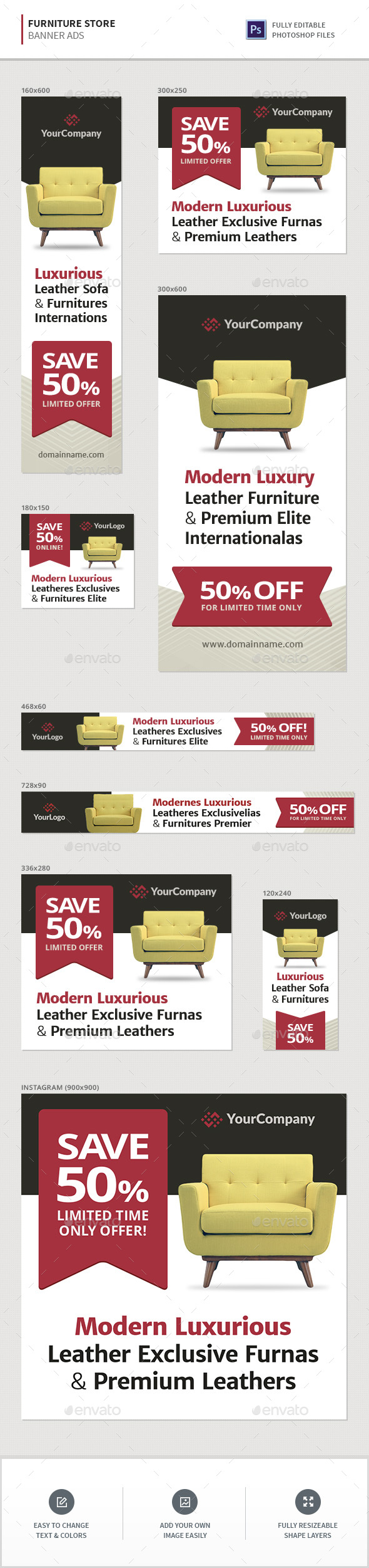 Furniture Store Banners - Banners & Ads Web Elements
