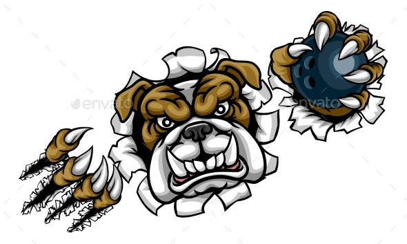 Bulldog Bowling Sports Mascot - Sports/Activity Conceptual