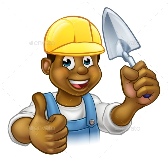 Bricklayer Worker With Trowel Tool - People Characters
