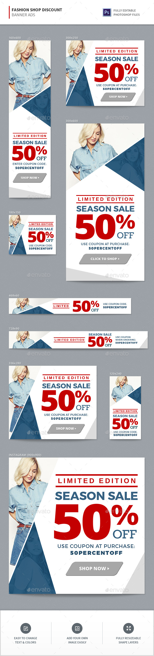 Fashion Shop Banners - Banners & Ads Web Elements