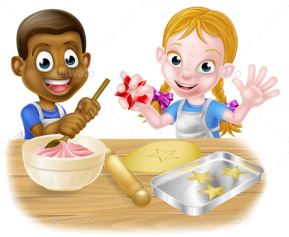 Cartoon Kid Chefs Baking Cakes - People Characters
