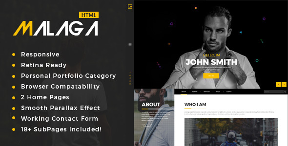 Malaga : Personal Portfolio HTML Template