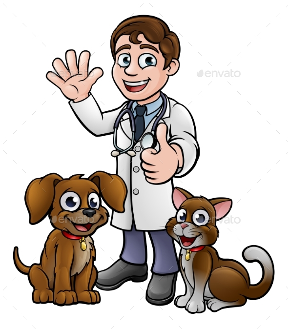 Vet with Pet Cat and Dog Cartoon Characters - People Characters