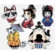 Set of Flash Style Japanese Cat Patches or Stickers