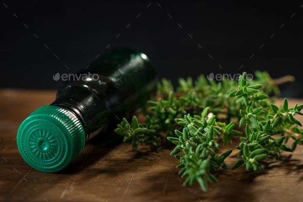 Thyme herb and oil - Stock Photo - Images