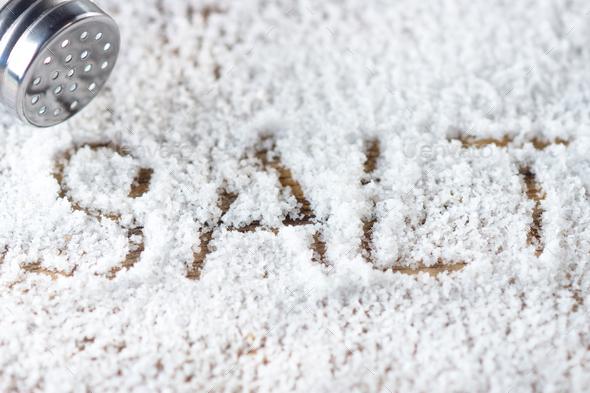 Salt on wooden background - Stock Photo - Images