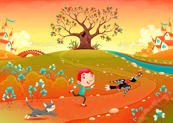 Friendship Between a Boy, Woodpecker and Kitten - Animals Characters