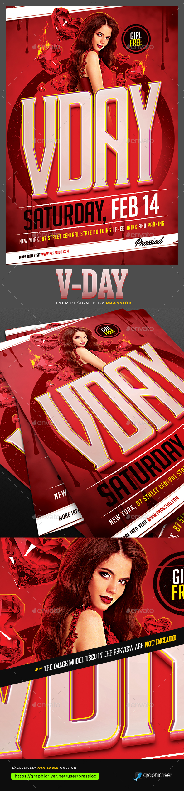 V-Day Flyer Template - Clubs & Parties Events