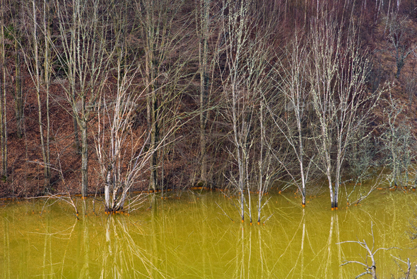 Green pollution lake with mining gold and copper residuals - Stock Photo - Images
