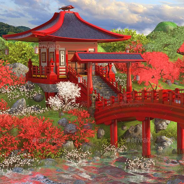 Asian Environment - Architecture 3D Renders