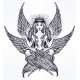 Hand Drawn Romantic Six Winged Magic Angel Girl