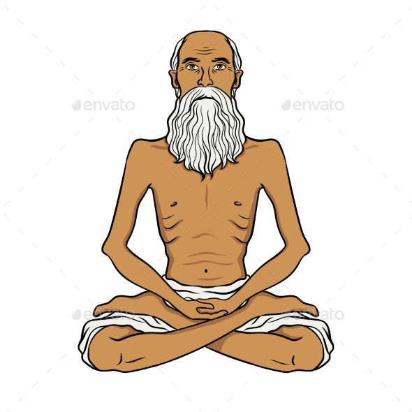 Yogi Meditation Pop Art Vector Illustration - Religion Conceptual