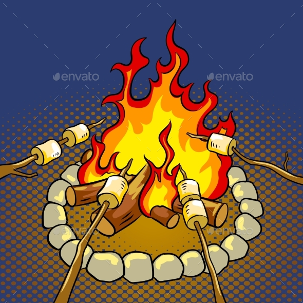 Marshmallow on Bonfire Pop Art Vector Illustration - Food Objects