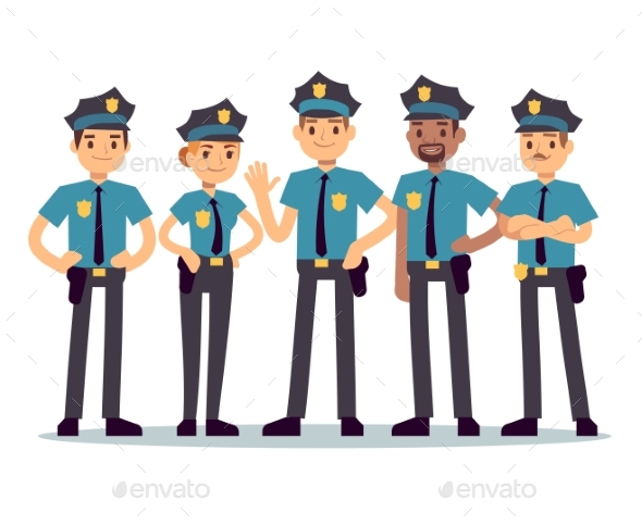 Group of Police Officers - People Characters