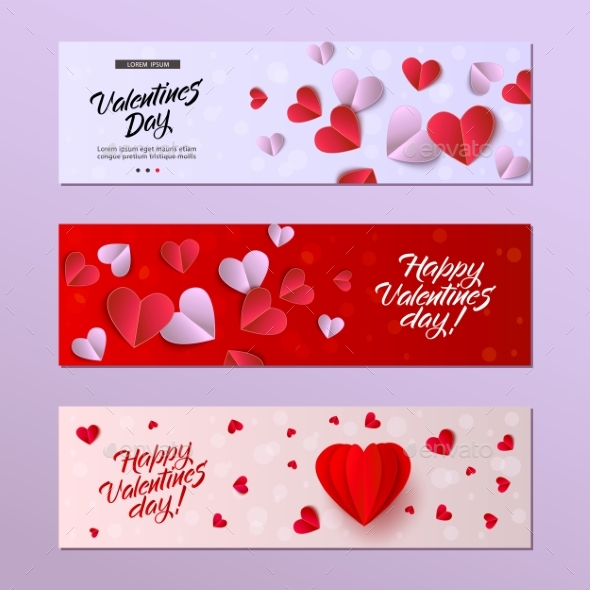 Vector Happy Valentines Day Card Template Set