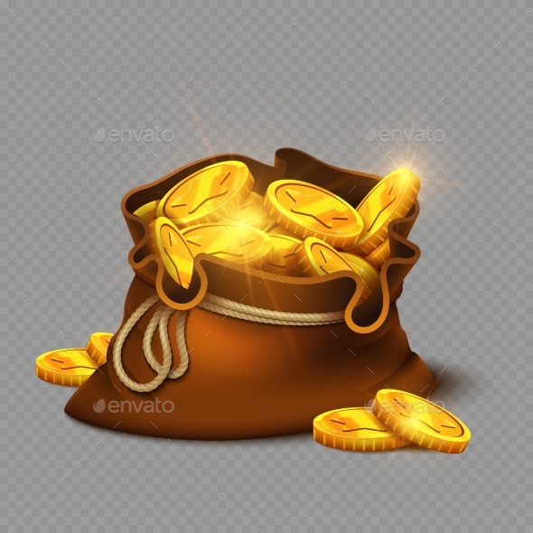 Cartoon Bag with Gold Coins Isolated - Man-made Objects Objects