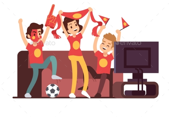 Soccer Fans and Friends Watching TV on Couch - People Characters