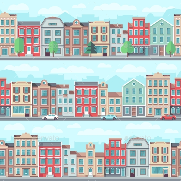 Cartoon Seamless Street with Old Apartment - Buildings Objects