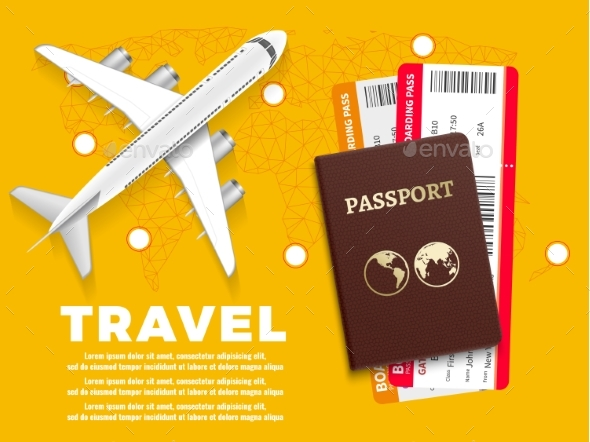 Air Travel Banner with Plane World Map - Travel Conceptual