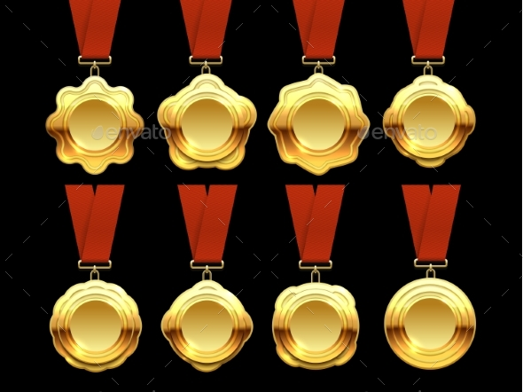 Gold Medals Vector Collection on Red Ribbons