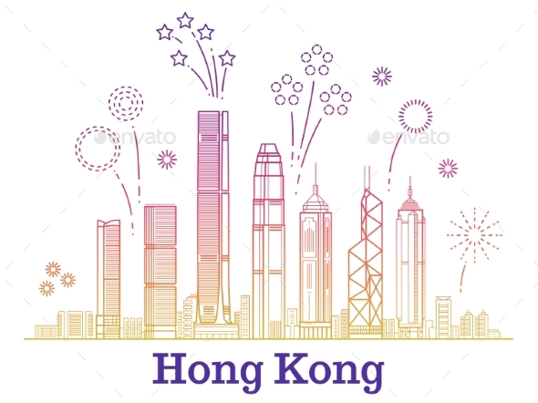 Hong Kong City Vector Panorama - Buildings Objects