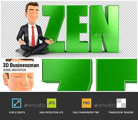 3D Businessman Doing Meditation Next to the Word Zen - Characters 3D Renders