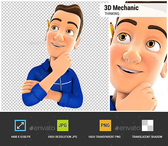 3D Mechanic Thinking - Characters 3D Renders