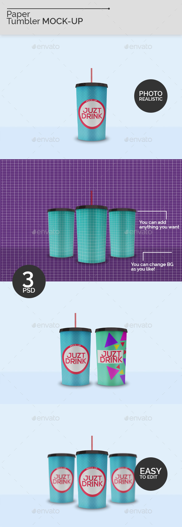 Paper Tumbler Mock-Ups - Food and Drink Packaging