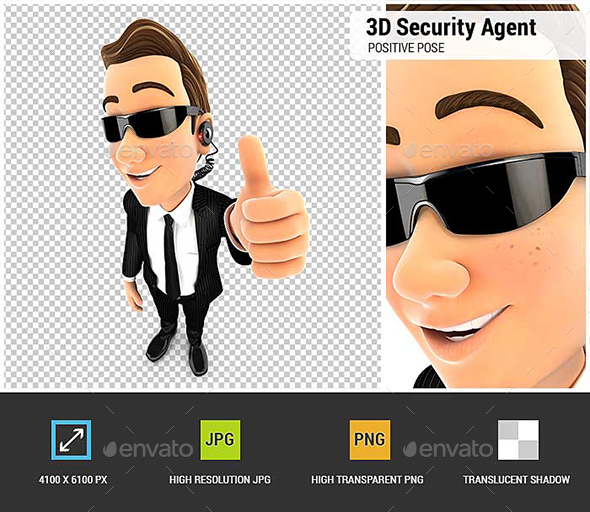 3D Security Agent Positive Pose with Thumb Up - Characters 3D Renders