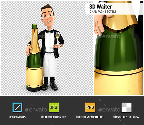 3D Waiter Standing Next to Champagne Bottle - Characters 3D Renders