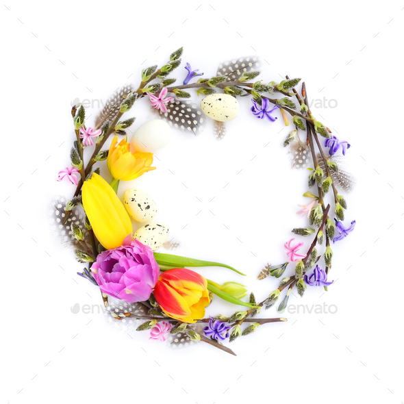 Easter wreath with easter eggs, pussy-willow branches and flower - Stock Photo - Images