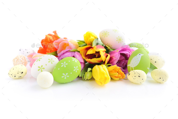 Easter eggs with tulips flowers on white background - Stock Photo - Images