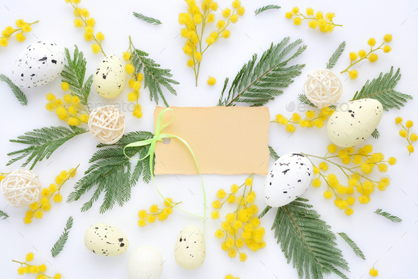 Easter floral background, various eggs and mimosa flowers, view - Stock Photo - Images