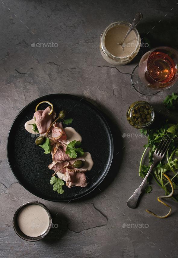 Veal with tuna sauce vitello tonnato - Stock Photo - Images