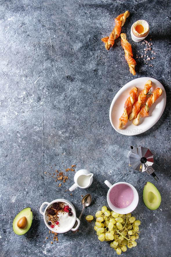 Breakfast set with salmon and yogurt - Stock Photo - Images