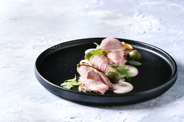 Veal with tuna sauce vitello tonnato - Stock Photo - Images