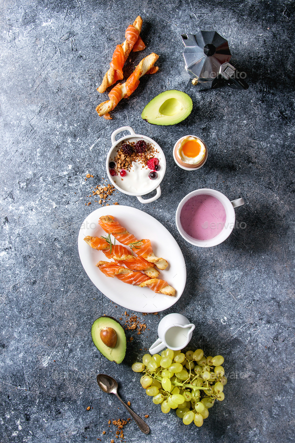 Breakfast set with salmon and yogurt - Stock Photo - Images