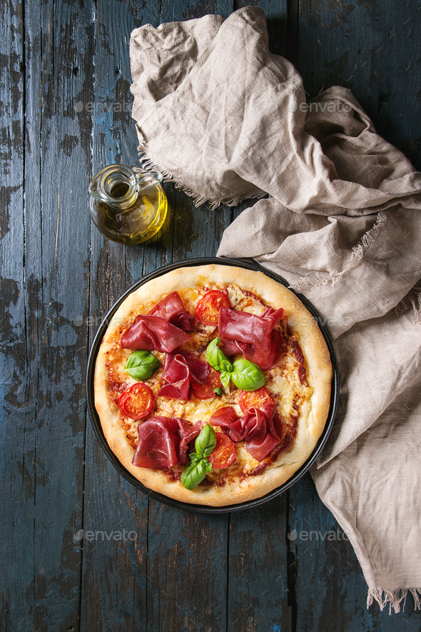 Pizza with bresaola - Stock Photo - Images