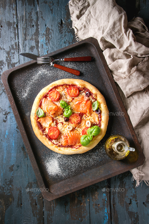 Pizza with salmon - Stock Photo - Images